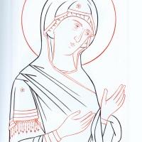 Богоматерь (из деисусного чина) прорись
